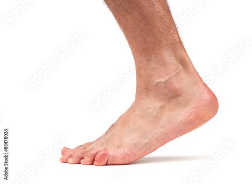 Fotografie, Obraz  Bare male foot walking
