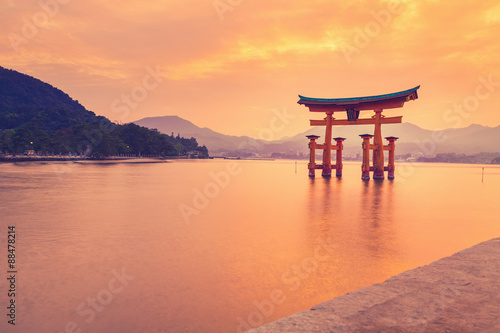 The famous orange shinto gate (Torii) of Miyajima island, Hiroshima prefecture, Japan.