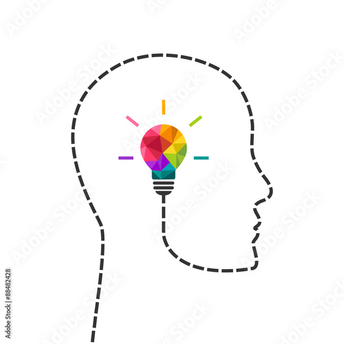 Plakat  Creative thinking and learning concept with colorful lightbulb and human profile