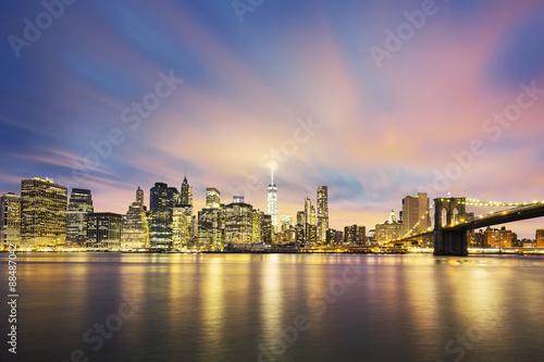 Fototapeta View of New York City Manhattan midtown at dusk
