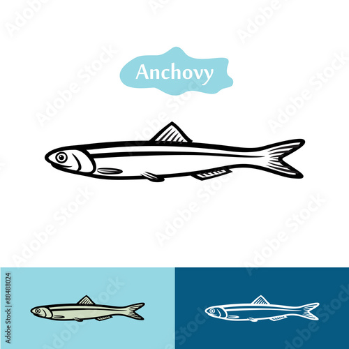 Anchovy silhouette logo Wallpaper Mural