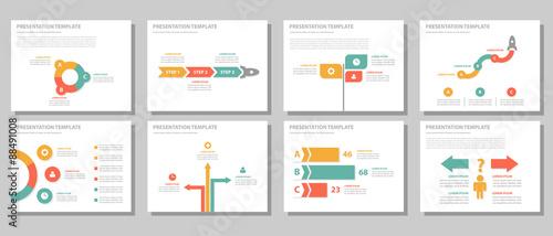 Fototapeta Red green orange Multipurpose presentation templates flat design set obraz
