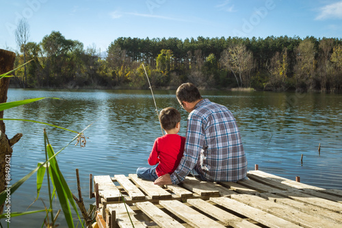 Poster de jardin Peche Father and son fishing