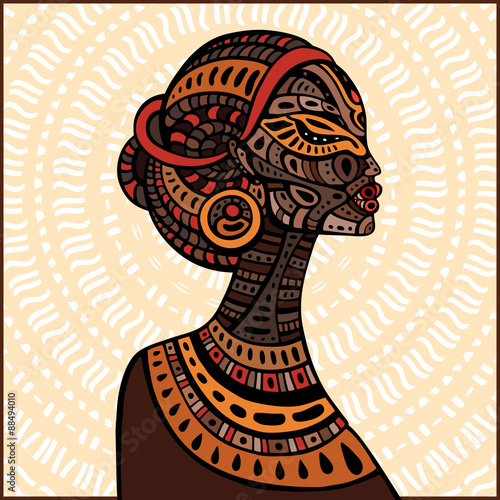 Profile of beautiful African woman. Wallpaper Mural