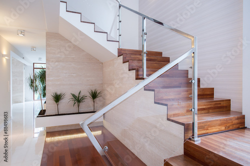 Stylish staircase in bright interior Canvas-taulu