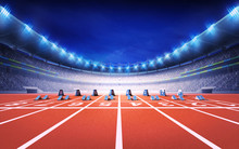 Athletics Stadium With Race Tr...