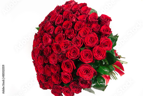 Fotografie, Obraz  Isolated large bouquet of 101 red rose isolated on white