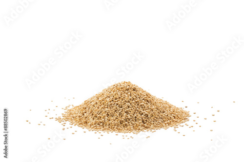 Pile of quinoa seeds isolated on a white background