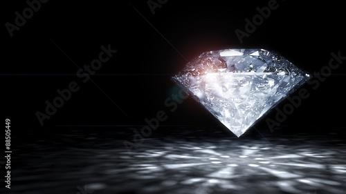 Fototapeta 3 D render of shiny diamond. obraz