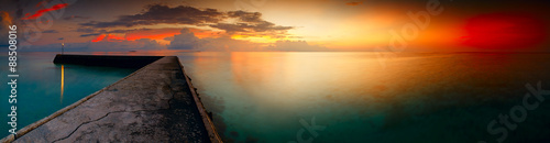 plakat Panorama of tropical sunset on Maldives