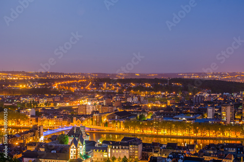 Fototapeta night panoramic view over city of liege in belgium from top of local citadel. obraz na płótnie