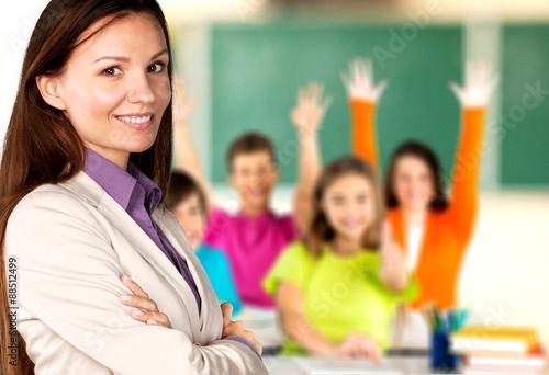 Fotografía  Profesor, escuela, sonriente.
