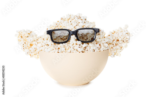 Fényképezés  Smiling Monster of popcorn, glasses. Isolated on white
