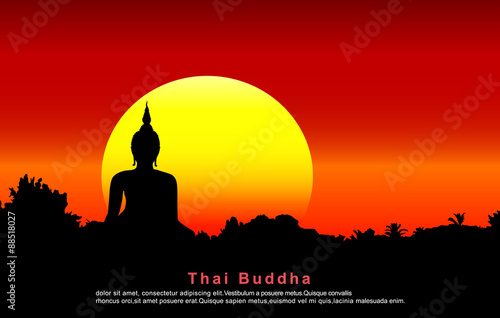 Poster Temple Silhouette of a Thai Buddha.