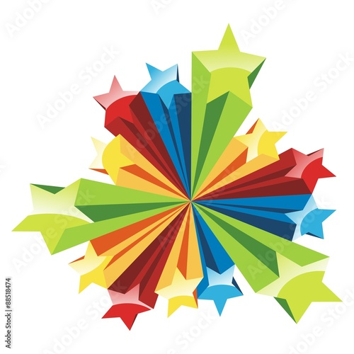 Fotografering  Star 3D Full Color, abstract colorful explode with stars vector illustration
