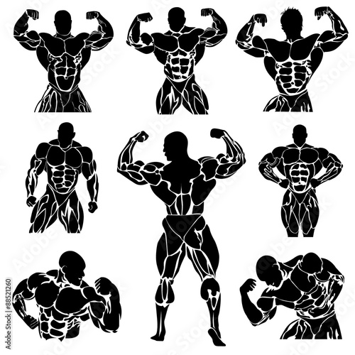 Photo  Bodybuilding, Powerlifting, vector, set