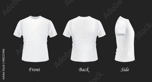 T-shirt template, front, side, back view. White t-shirts ...