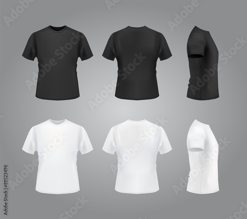 T-shirt template, front, side, back view. Black and white t-shirts ...