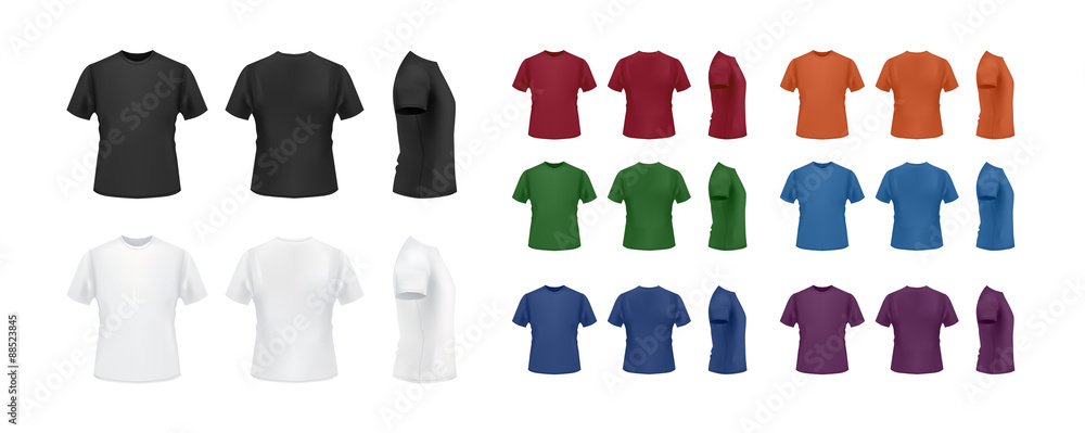 Fototapeta T-shirt template colorful collection isolated on white background, front, side, back view.