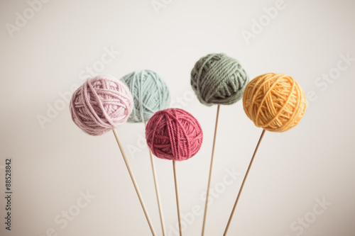 Fototapeta Close up of multicolor balls of yarn