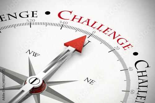 Fotografie, Obraz  Kompass zeigt auf das Wort Challenge