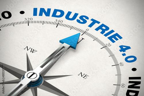 Fotografie, Obraz  Kompass zeigt auf Industrie 4.0