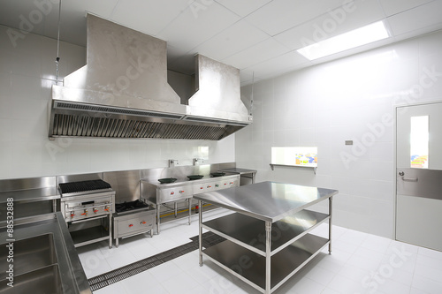Staande foto Industrial geb. Commercial kitchen work surface and kitchen equipment in professional kitchen.