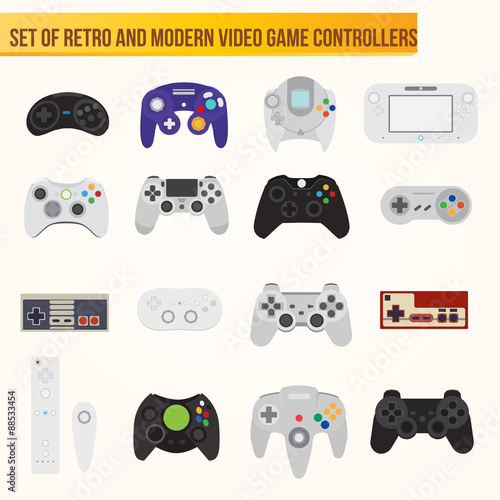 Photo  Set of flat vector video game controllers