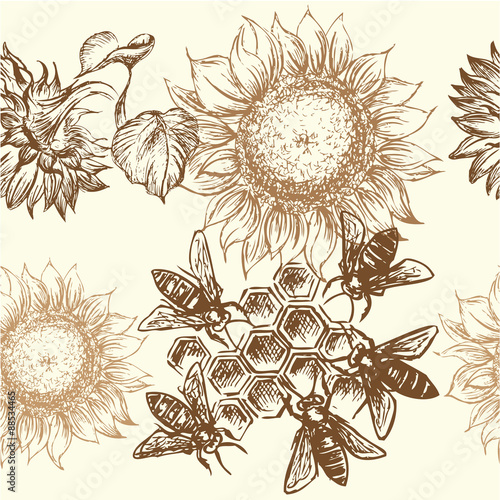 Cotton fabric seamless  honey pattern
