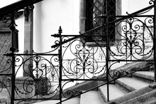 Classic Wrought Iron Stair. This Picture Was Taken While Walk In A Small Alley Of Cesky Krumlov, Czech.