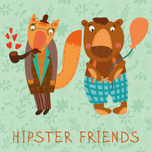 Retro Card With Animals Hipster Friends. (fox & Bear)