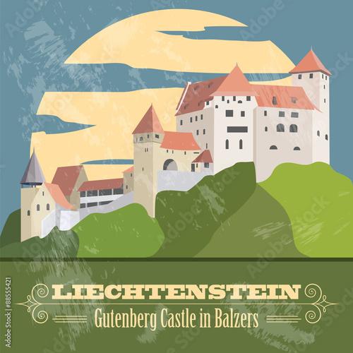 Fototapety, obrazy: Liechtenstein landmarks. Retro styled image.