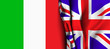 Flag of United Kingdom over the Italy flag.