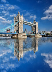 Famous Tower Bridge against blue sky in London, England