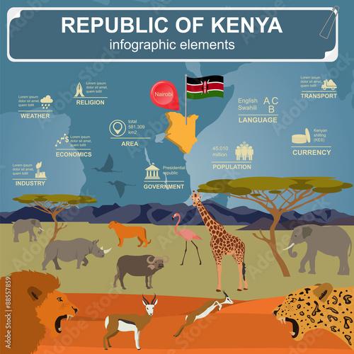 Kenya  infographics, statistical data, sights. Wall mural