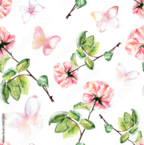 Foto-Tapete - Seamless watercolour roses and butterflies background pattern (von laplateresca)