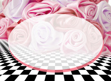 Delicate Background With Roses On A Chess Surface