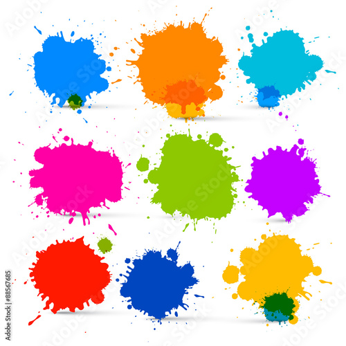 Deurstickers Vormen Colorful Vector Isolated Blots - Splashes Set