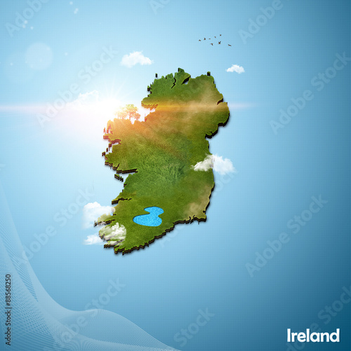 Map Of Ireland 3d.Realistic 3d Map Of Ireland Buy This Stock Illustration And