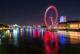 Fototapeta Londyn - The London eye at night.