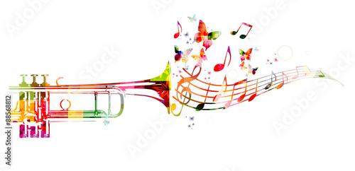 Cuadros en Lienzo Colorful trumpet design with butterflies