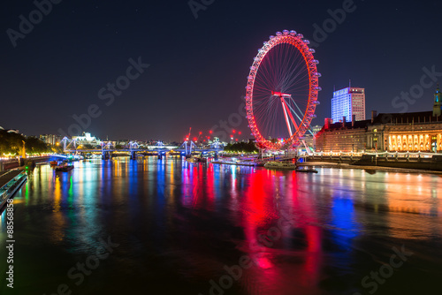 The London eye at night.