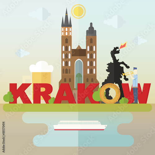 Fototapeta Кrakow symbols. Most famous symbols of Krakow: cathedral, beer, dragon, krakow roll obraz