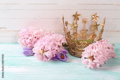Background with flowers and decorative crown Canvas Print