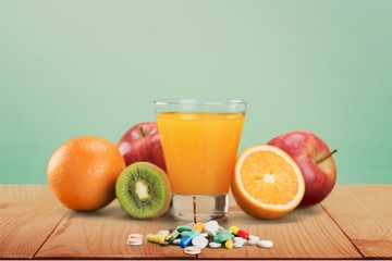Fototapeta Healthy Lifestyle, Pill, Food.