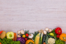 Vegetables On Wood Background With Space For Text