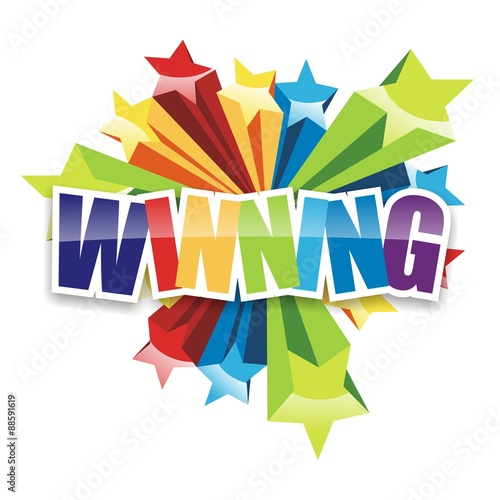 Winning Icon. congratulations colorful on white background Billede på lærred