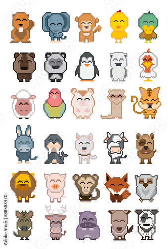 Staande foto Zoo Set of cartoon animal pixel ; Vector illustration