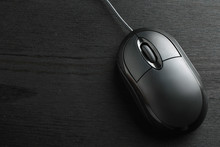 Black, Wood Background, Computer Mouse