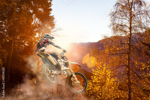 Photo  motocross at sunset